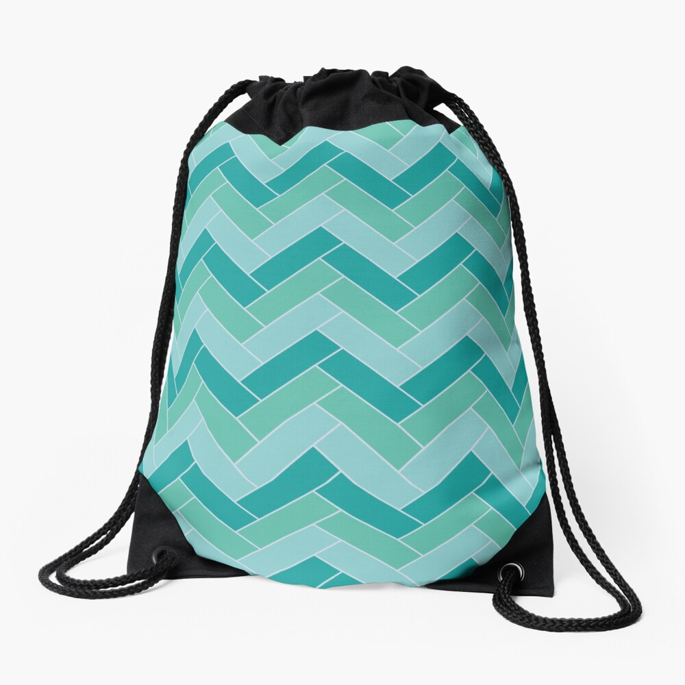 Geometric Pattern: Herringbone: Moss Drawstring Bag