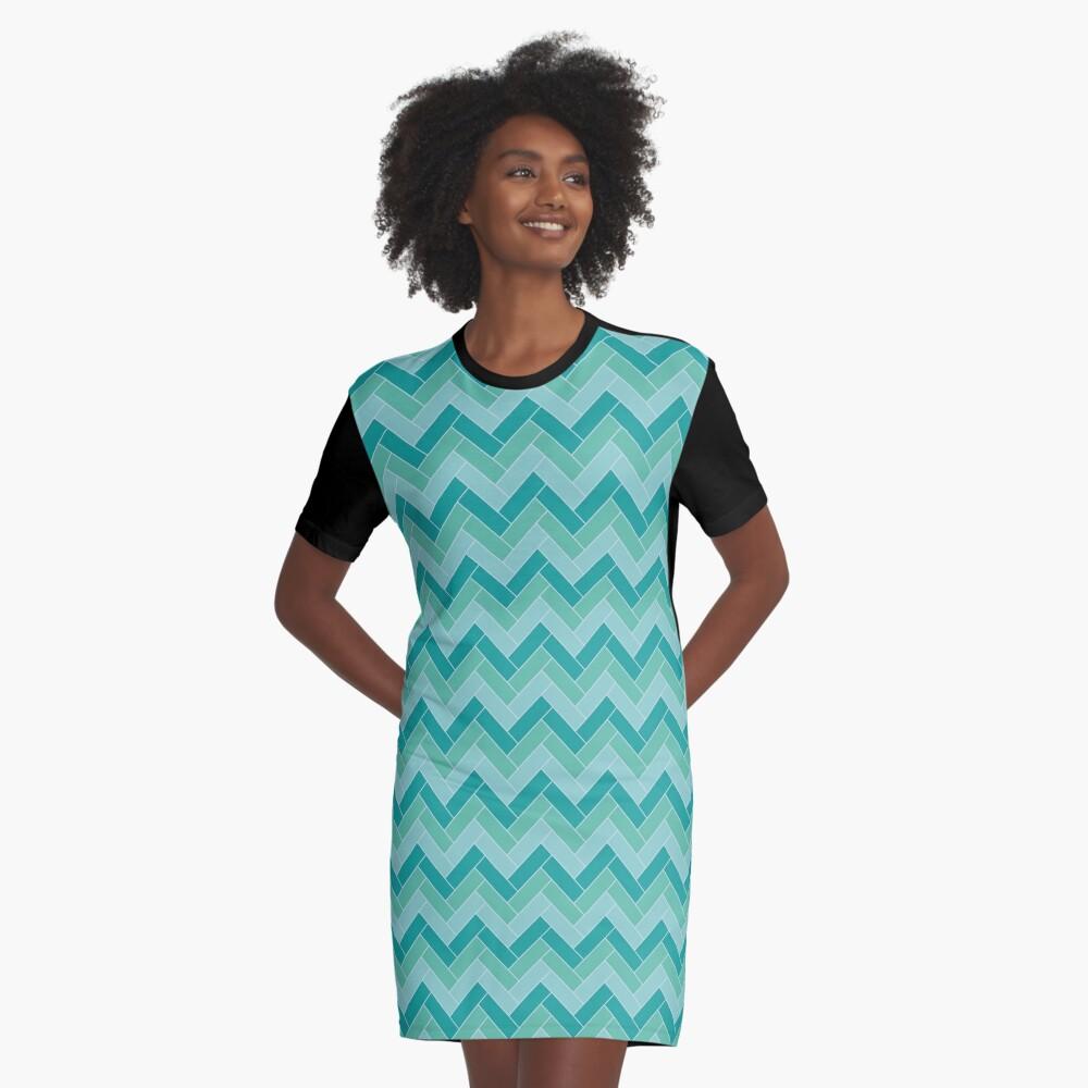Geometric Pattern: Herringbone: Moss Graphic T-Shirt Dress