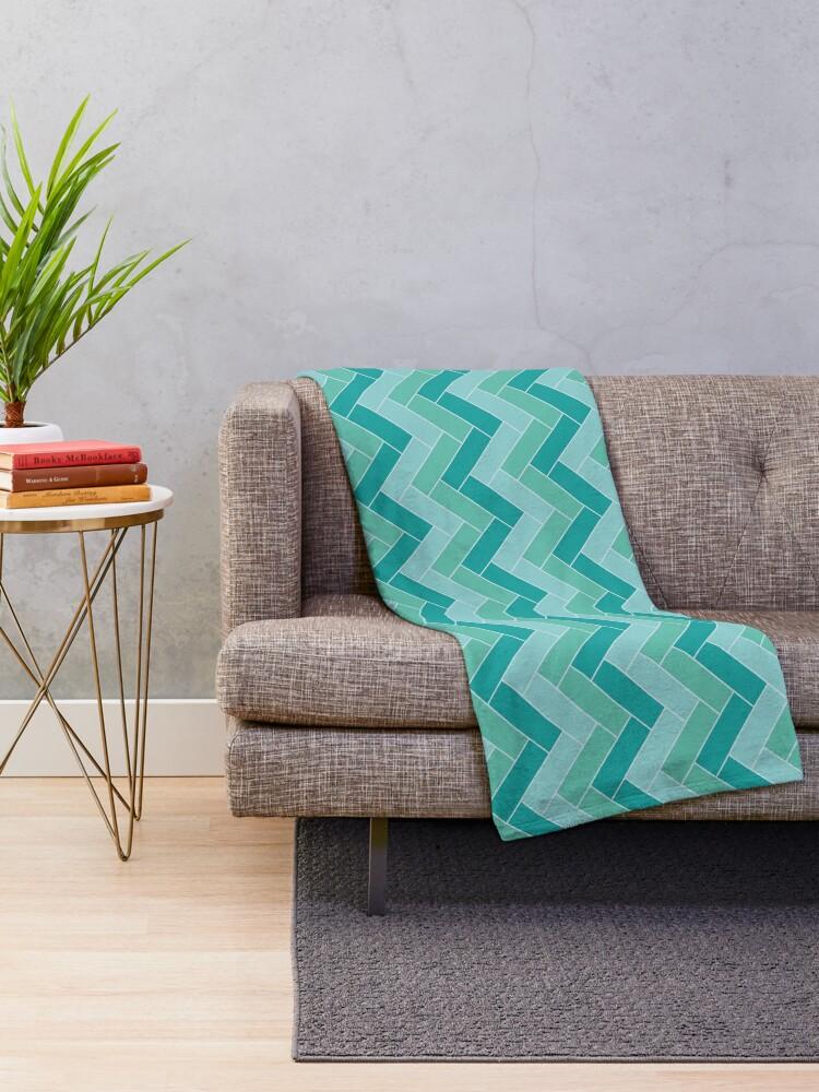 Alternate view of Geometric Pattern: Herringbone: Moss Throw Blanket