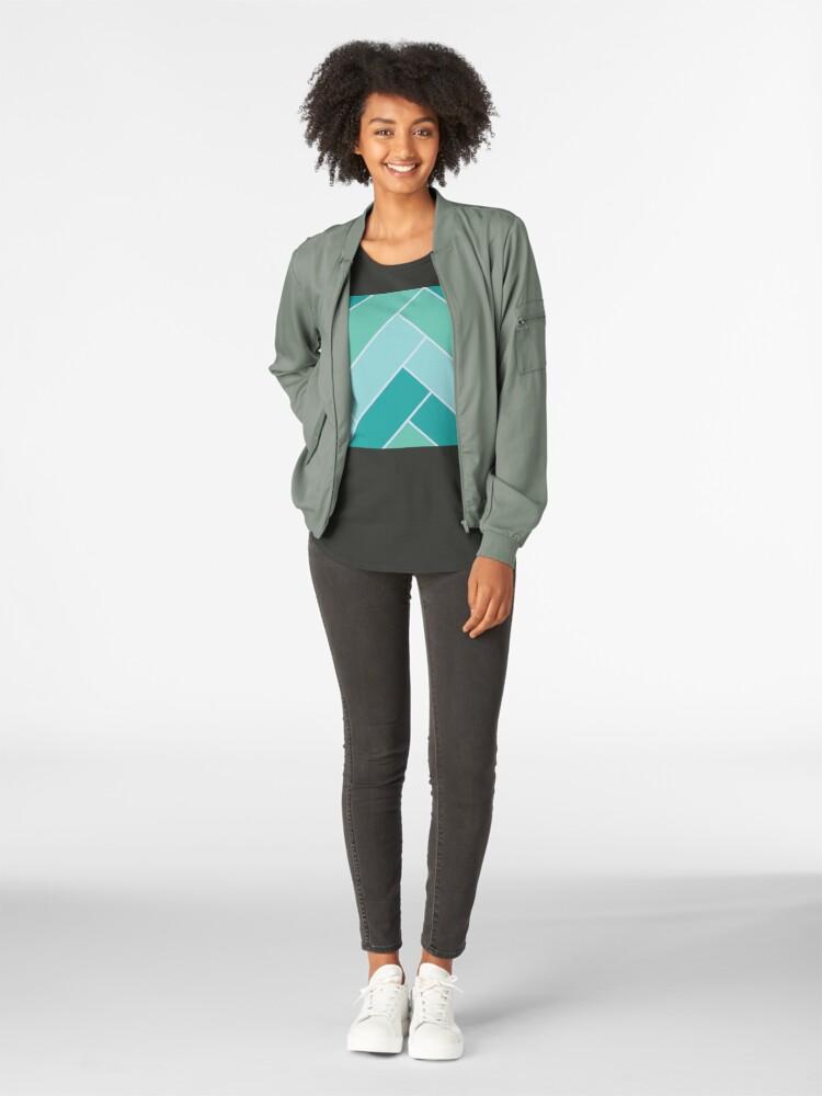 Alternate view of Geometric Pattern: Herringbone: Moss Premium Scoop T-Shirt