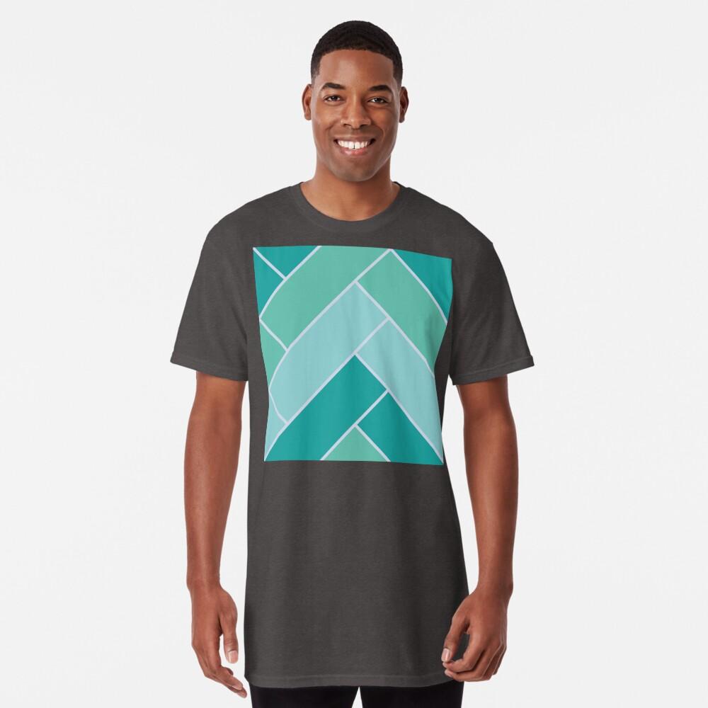 Geometric Pattern: Herringbone: Moss Long T-Shirt