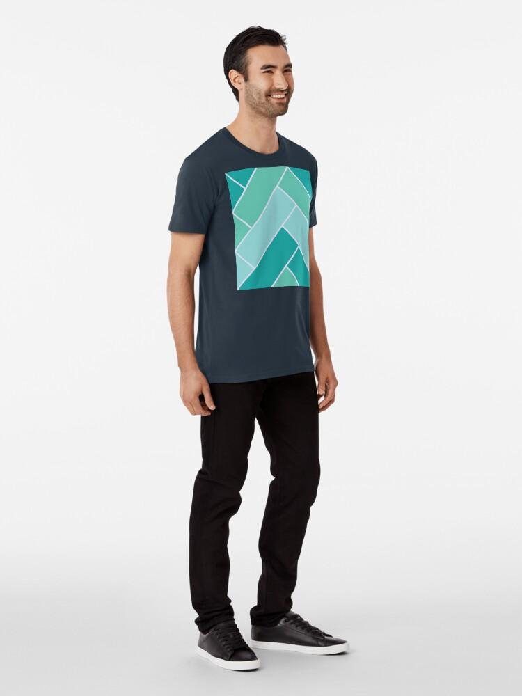Alternate view of Geometric Pattern: Herringbone: Moss Premium T-Shirt