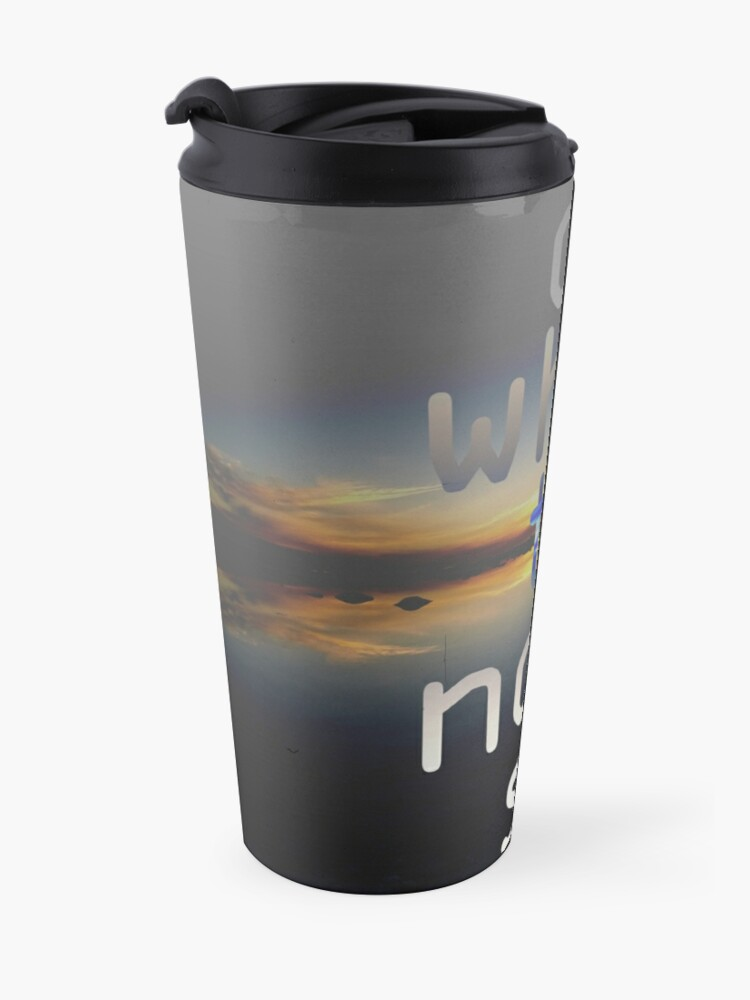 Alternate view of D-White Noise - sunset beach stack - merch Travel Mug