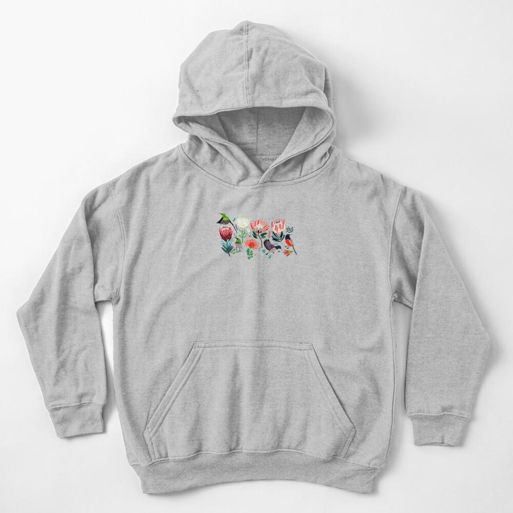 Sunbirds & Proteas On Grey Kids Pullover Hoodie