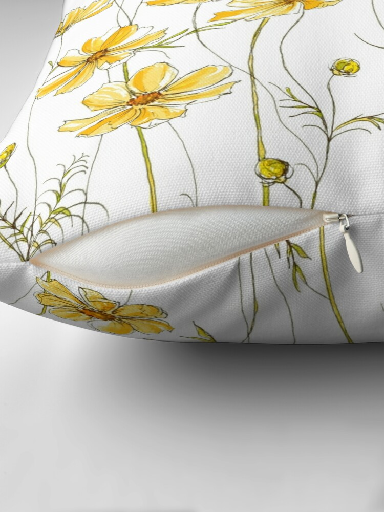 Alternate view of Yellow Cosmos Flowers Throw Pillow
