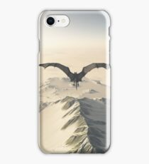 Grey Dragon Flight Over Snowy Mountains iPhone Case/Skin
