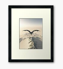 Grey Dragon Flight Over Snowy Mountains Framed Print