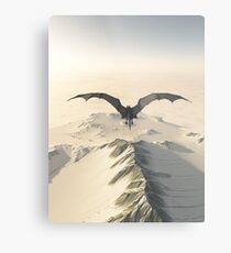 Grey Dragon Flight Over Snowy Mountains Metal Print