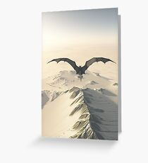 Grey Dragon Flight Over Snowy Mountains Greeting Card