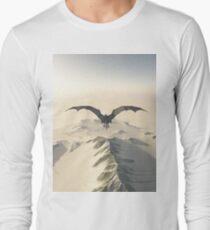 Grey Dragon Flight Over Snowy Mountains Long Sleeve T-Shirt