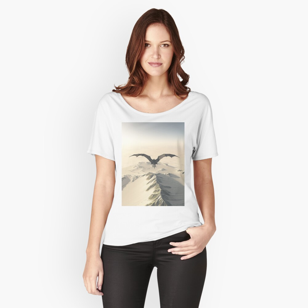 Grey Dragon Flight Over Snowy Mountains Women's Relaxed Fit T-Shirt Front