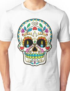 Colorful Retro Floral Sugar Skull T-Shirt