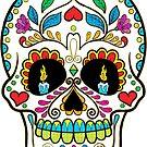 Colorful Retro Floral Sugar Skull by artonwear