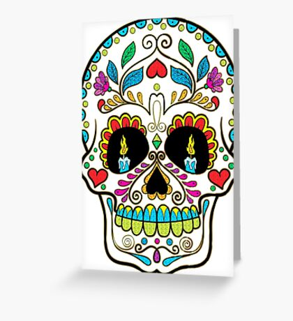Colorful Retro Floral Sugar Skull Greeting Card