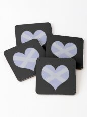 Scots Words in a Saltire in a Heart Coasters