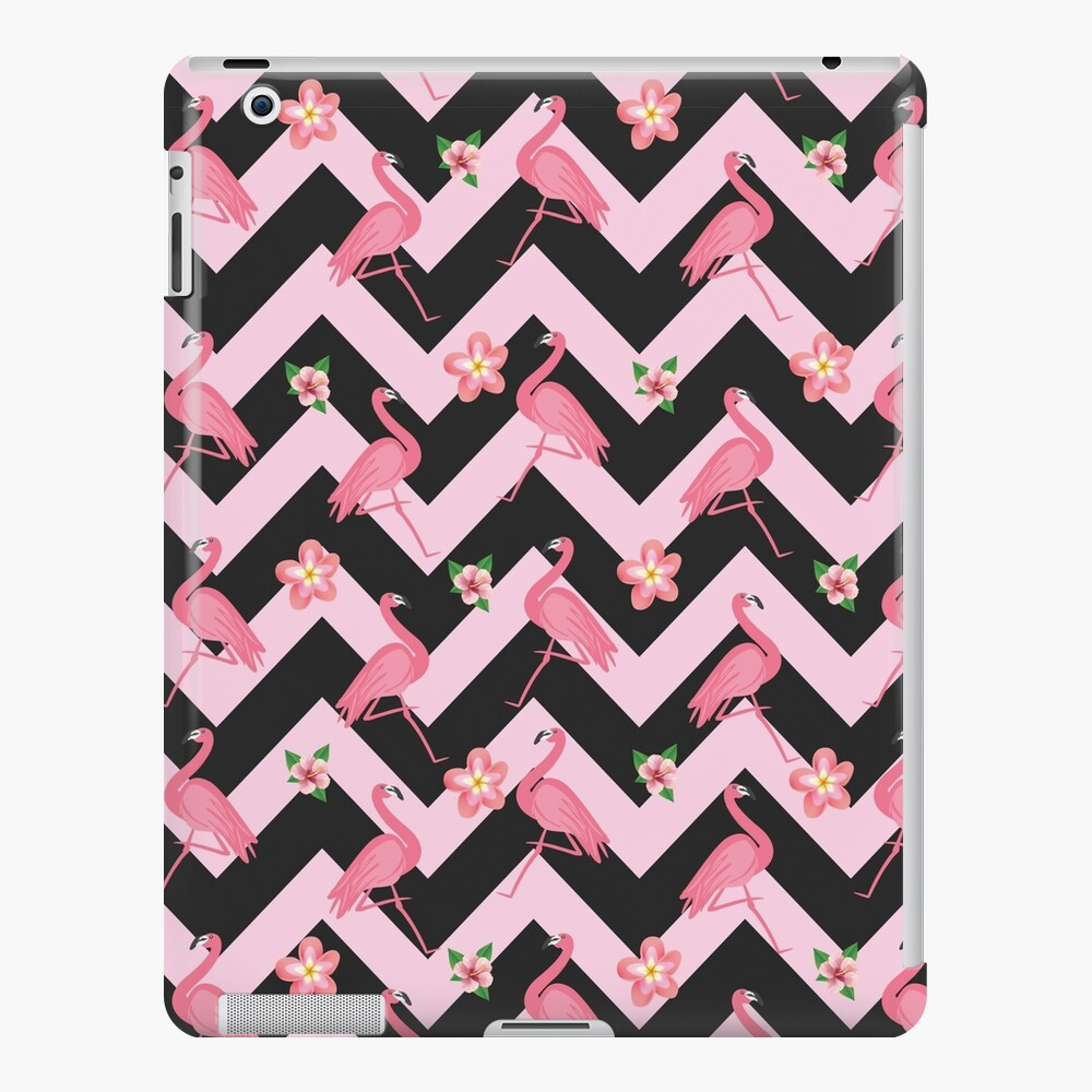 Black And Pink Zig Zag With Flamingos And Hawaiian Flowers Pattern