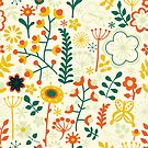 Colorful Retro Country Flowers pattern by artonwear