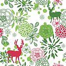 Christmas Pattern Flowers And Reindeer by artonwear