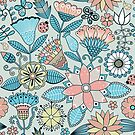 Colorful Retro Flowers And Birds Pattern by artonwear