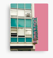 New York Coffee Shop on Pink Canvas Print
