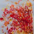 Bright Pink Bush and Bird by CheyAnne Sexton by CheyAnne Sexton