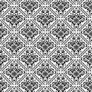 Black Floral Damasks Geometric Pattern by artonwear