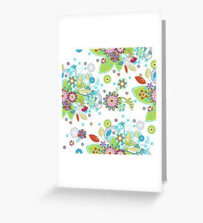 Colorful Retro Floral Design  Greeting Card