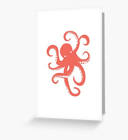 Nautical Coral Red Octopus Illustration Greeting Card
