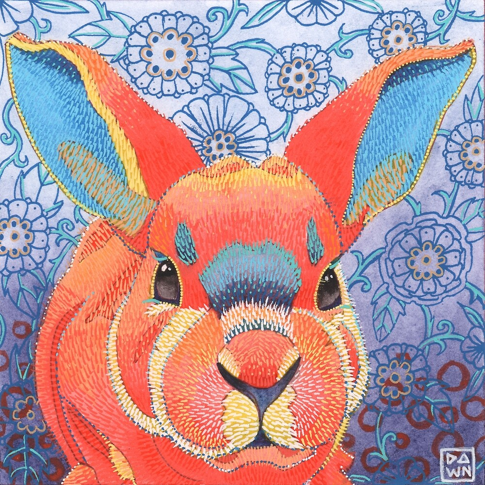 Bunny Willow Rabbit Ink Painting by Dawn Pedersen
