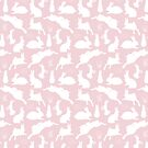 Rabbit Pattern   Rabbit Silhouettes   Bunny Rabbits   Bunnies   Hares   Pink and White    by EclecticAtHeART
