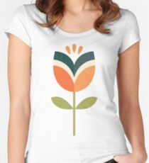 Retro Tulip - Orange and Olive Green Fitted Scoop T-Shirt
