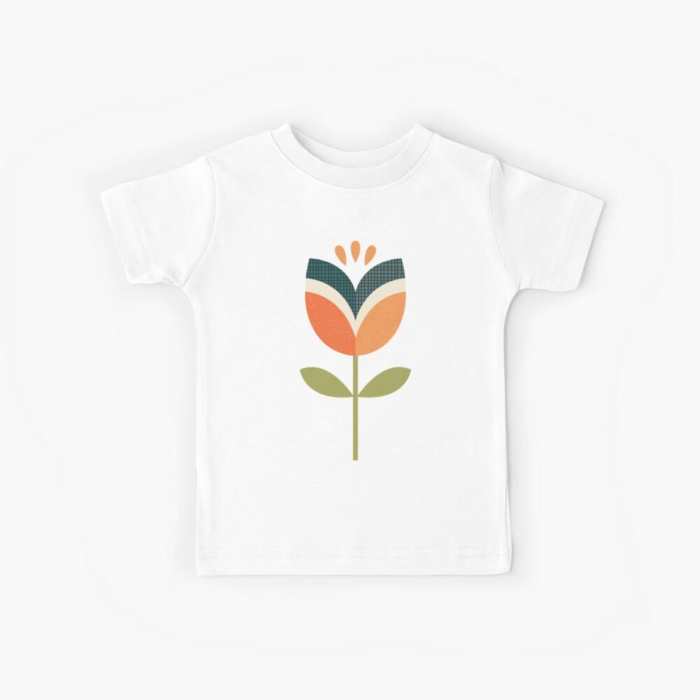 Retro Tulip - Orange and Olive Green Kids T-Shirt