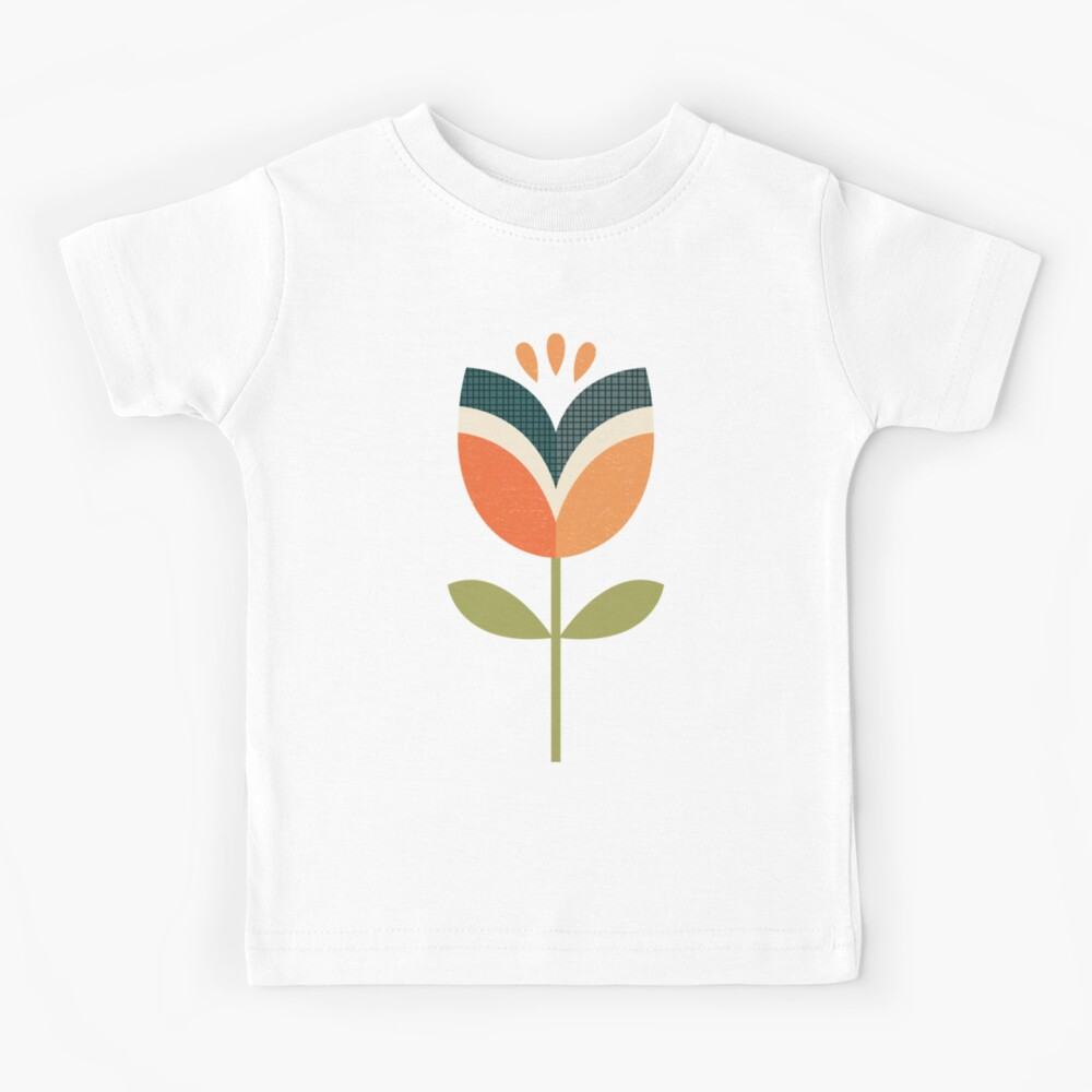 Retro Tulpe - Orange und Olivgrün Kinder T-Shirt
