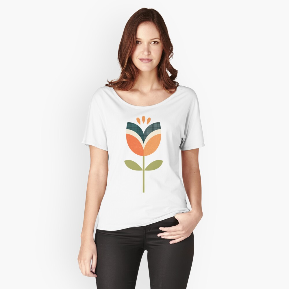 Retro Tulip - Orange and Olive Green Relaxed Fit T-Shirt