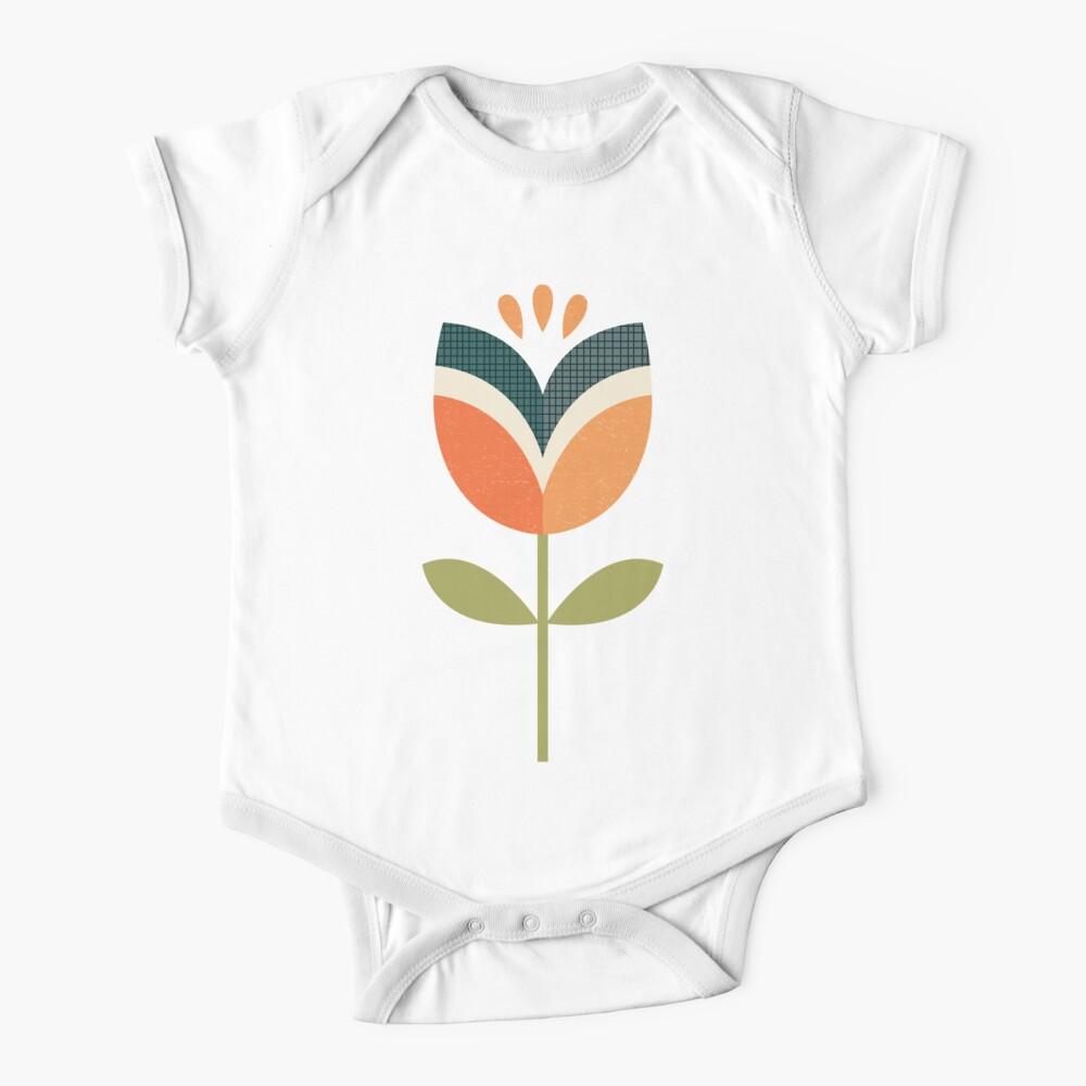Retro Tulpe - Orange und Olivgrün Baby Body