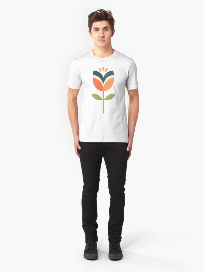 Alternative Ansicht von Retro Tulpe - Orange und Olivgrün Slim Fit T-Shirt