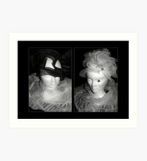 Tulle hats and collars - BW Art Print