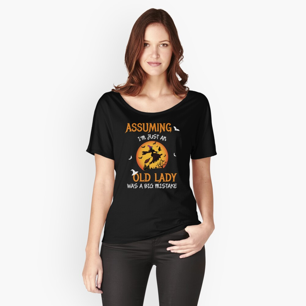 Spooky Scene Halloween Scene Scary Scene Witch. Relaxed Fit T-Shirt