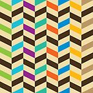 Colorful Modern Geometric Herringbone Pattern by artonwear