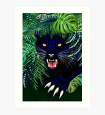 Black Panther Spirit coming out from the Jungle Art Print