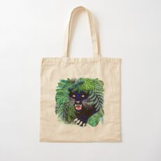 Black Panther Spirit coming out from the Jungle Cotton Tote Bag