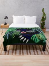 Black Panther Spirit coming out from the Jungle Throw Blanket