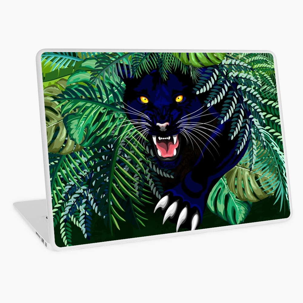Black Panther Spirit coming out from the Jungle Laptop Skin