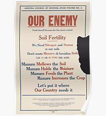 United States Department of Agriculture Poster 0081 Our Enemy Feeds Hereself Becasue She Has Never Wasted Soil Fertility Nitrogen Humus Poster