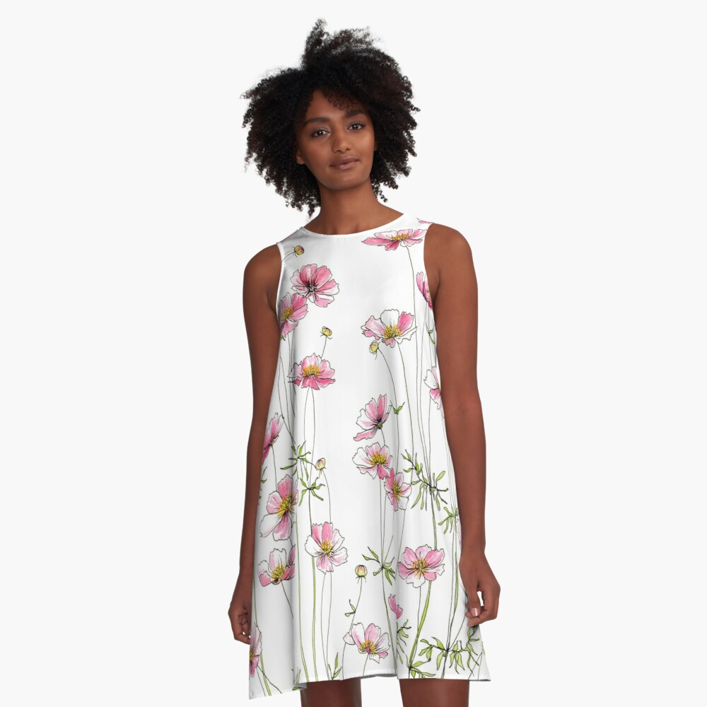 Pink Cosmos Flowers A-Line Dress