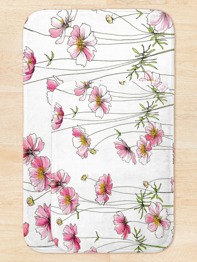 Alternate view of Pink Cosmos Flowers Bath Mat