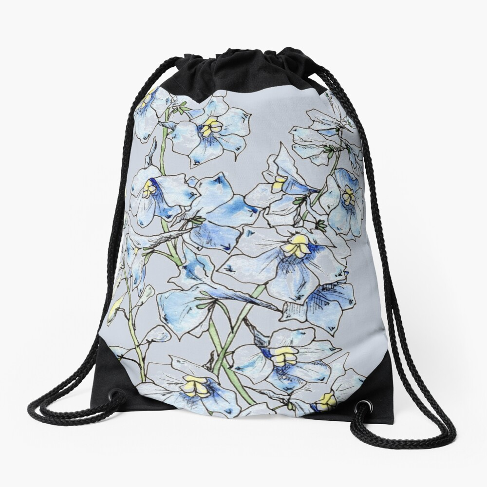 Blue Delphinium Flowers Drawstring Bag