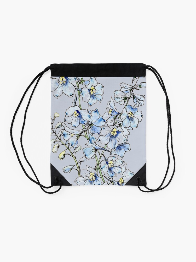 Alternate view of Blue Delphinium Flowers Drawstring Bag