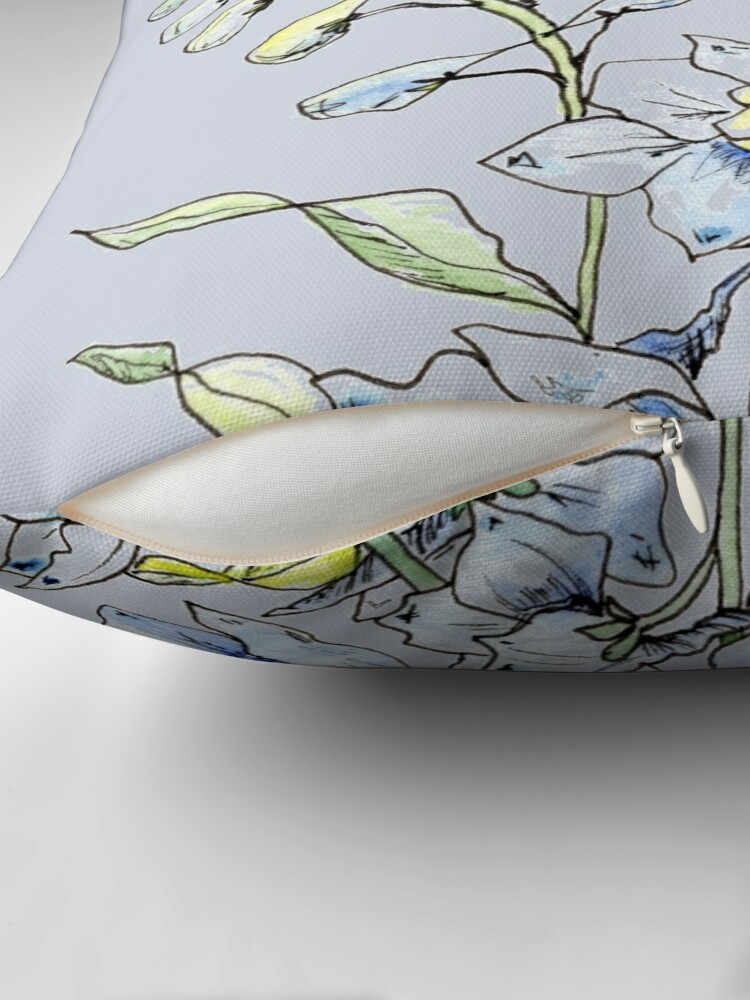 Alternate view of Blue Delphinium Flowers Floor Pillow