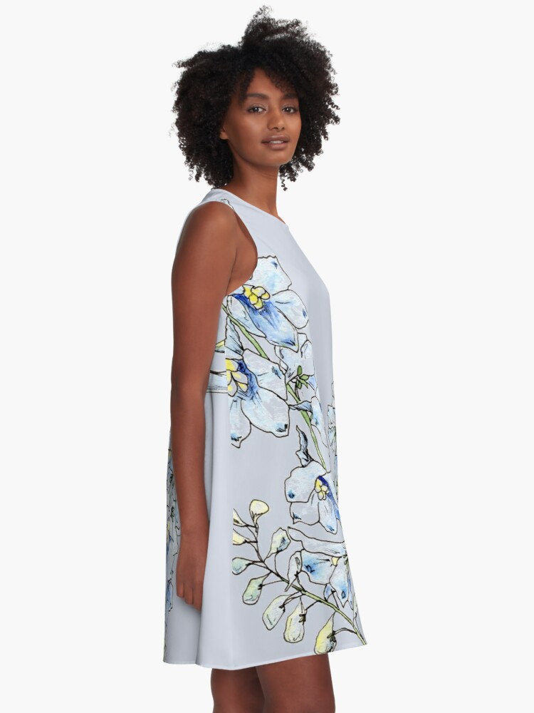 Alternate view of Blue Delphinium Flowers A-Line Dress